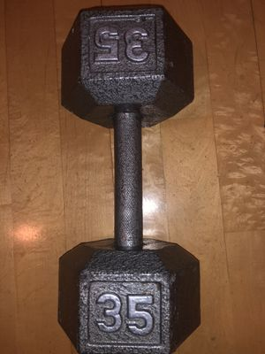 35 lbs pound Dumbbell iron old school hardcore workout, gym weightlifting, bodybuilding for Sale in Los Angeles, CA