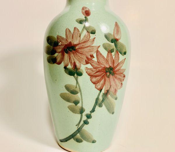 Green hand painted flower vase