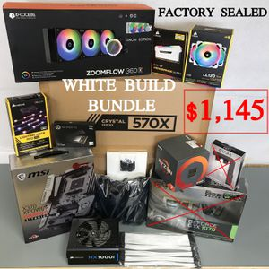 Ryzen WHITE Computer Gaming PC bundle ready for GPU video card BRAND NEW SEALED BOXES for Sale in Long Beach, CA