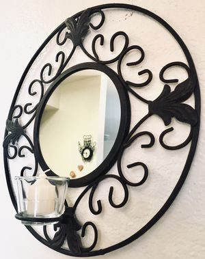 Vintage wrought iron wall accent mirror candle holder W16xD4 inch - Lbs 3.5 for Sale in Chandler, AZ