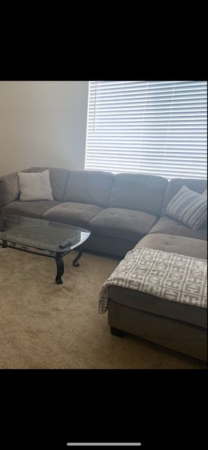 Sectional Couch and Glass Table for Sale in Tracy, CA