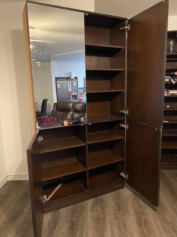 Mirror Walk in closet organizer Oak wood shelves