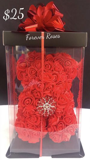 🌹 Rose Bear 🐻 with Bling Bling Mini Crown 👑 Comes In A Box With A Bow 🎁. Roses Are Made Out Of Foam. 10in. Tall for Sale in South Gate, CA