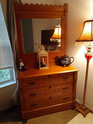 Antique dresser with swivel mirror, matching headboard and footboard and side rails for Sale in Port Clinton, OH