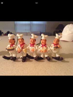 Chef - 5 Chefs - hang on wall - can hang keys or etc on feet - or not! So cute for Sale in Boca Raton, FL