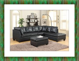 Black sectional free ottoman and delivery for Sale in Alexandria, VA
