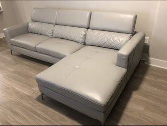 Platinum leather sofa & chaise. In excellent condition. for Sale in Denver,  CO