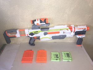 NERF N-Strike Modulus Motorized Blaster w/2 Ammo Clips Scope + Extra Attachments for Sale in Yucaipa, CA