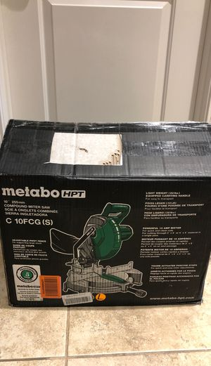 Metabo Hitachi HPT Compound Miter Saw, 10-Inch, Single Bevel, 15-Amp Motor,  Miter Saw Blade for Sale in Bakersfield, CA