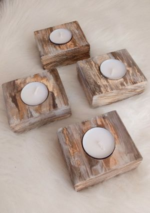 """1-1/2""""H X 3-1/2""""W X 3-1/4""""D 🌱(4 Pcs.) Solid Wood Tea Light Candle Holders ::: Rustic Distressed Havana Coffee/Cream for Sale in Las Vegas, NV"""