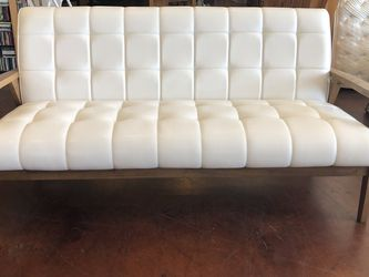 Bench MCM White Love Seat Faux Leather Wood for Sale in Las Vegas,  NV