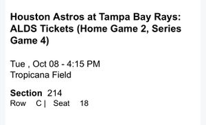 Houston Astros at Tampa Bay Rays: ALDS Tickets (Home Game 2, Series Game 4) for Sale in Clearwater, FL