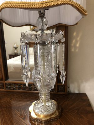 Large Antique Crystal Table Lamp with Hanging Prisms for Sale in Tampa, FL