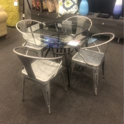 Glass Dining Table And Rustic Chairs for Sale in Portland,  OR