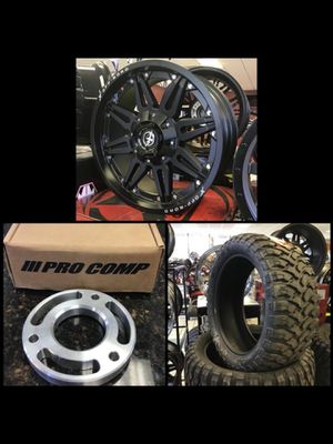 "New 22"" XF Off-road Matte Black Rims Wheels 33"" Mud Tires 2.5"" Leveling Kit INSTALLED Chevy GMC 1500 for Sale in Tampa, FL"