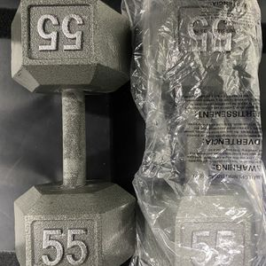 BRAND NEW 55LB PAIR OF CAST IRON HEX DUMBBELLS. Condition is New. Local pickup only. for Sale in Anaheim, CA