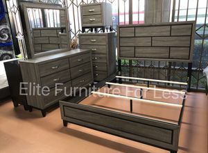 Queen Grey Bedroom Set- (Queen Bed Frame, Dresser, Mirror, and One Nightstand) for Sale in Chula Vista, CA
