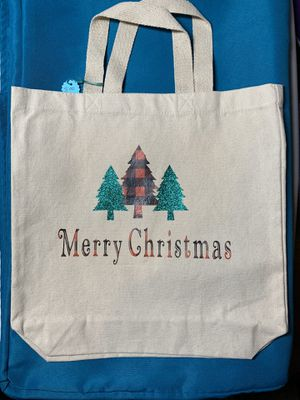 MERRY CHRISTMAS Natural Heavy weight Canvas Tote Bag 100% cotton. for Sale in Lyman, ME