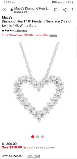 Diamond heart 18inch pendant necklace (1/2 ct. t.w) in 14k white gold for Sale in Riverside, CA
