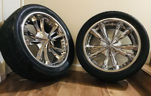"""22"""" Chrome Rims w/ used Tires (4) for Sale in Hayward, CA"""