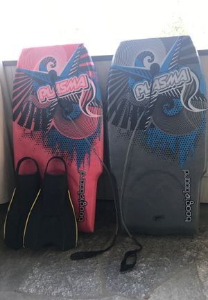 Two plasma boogie boards & 1pair of XL fins for Sale in Pasadena, CA
