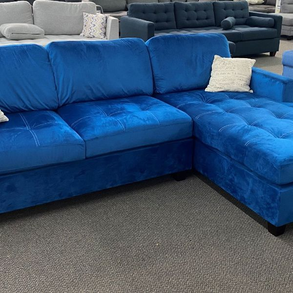 New Beautiful Navy Velvet Sectional Sofa Couch