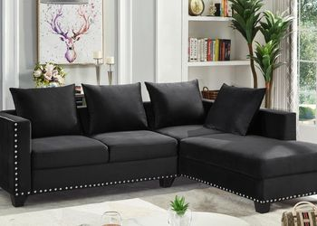 New! Black Nailhead Sectional Sofa *FREE SAME-DAY DELIVERY* for Sale in Laurel,  MD