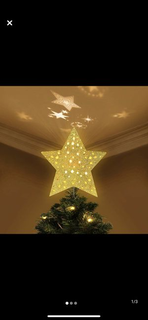 YUNLIGHTS Lighted Christmas Tree Toppers with Rotating Star Projector, Gold Glittered 5 Point Star Tree Topper Starry Night Light for Christmas Nurse for Sale in Elk Grove, CA