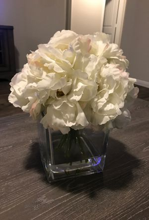 Home decor. Fake white flowers in vase for Sale in Leander, TX