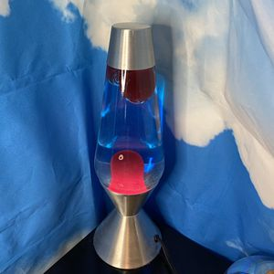 XL Red lava lamp with blue liquid and silver casing for Sale in Queens, NY