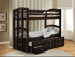 Brown Solid Wood Triple Bunk Bed rated 400 pounds strong Brand new also in White for Sale in Miramar, FL
