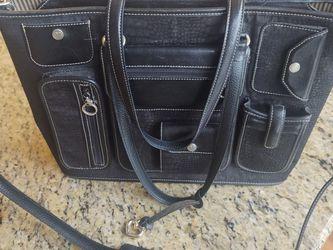 Brighton Purse, Laptop Bag - Black with Tan Stripe Fabric for Sale in Tacoma,  WA