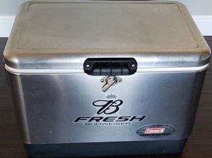 BUDWEISER COLEMAN STEEL ICE COOLER MANCAVE BAR PICNIC PATIO TAILGATE CAMPING for Sale in Thornton, CO