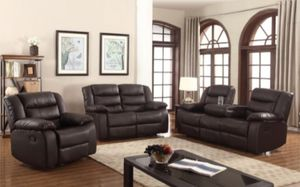 New 3pc Reclining set Brown leather for Sale in Puyallup, WA