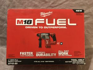 "Brand new Milwaukee M18 fuel brushless 1"" SDS rotary hammer. Tool only for Sale in Vacaville, CA"