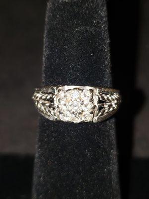 14K White Gold Genuine Diamond Garland Ring 9 Diamonds 2.5ctw 3.7g Size 5 for Sale in Joliet, IL