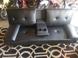 Black faux leather futon for Sale in San Diego, CA