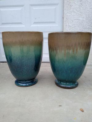 "New Planting Pot ""Caspian Tall Egg 14in Turquoise Tan"" $80ea$ ObO 😷 for Sale in San Bernardino, CA"