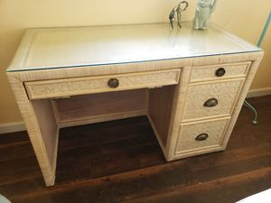 Desk with Glass Top for Sale in Boca Raton, FL