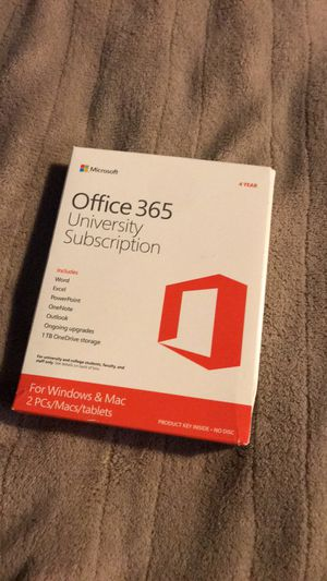 Microsoft Office 365 University Subscription 4 year License for Sale in Albuquerque, NM