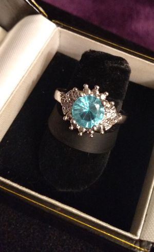 OCEAN BLUE TOPAZ Princess-Cut Ring for Sale in Gladstone, OR