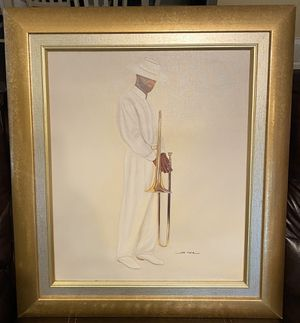 Framed Black Art Lithograph on Canvas for Sale in Durham, NC