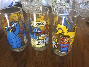Three Sesame Street collectible drinking glasses for Sale in Martinez, CA