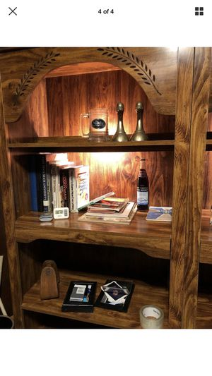 Wooden bookshelves with adjustable shelves and lighted shelf for Sale in Goodview, VA