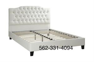 💢New Queen White Tufted faux leather bed frame💢 for Sale in Westley, CA