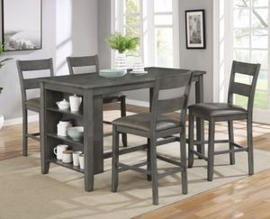 Grey 5pcs dining table set with kitchen shelves for Sale in Downey, CA