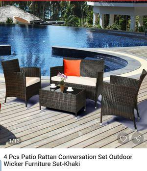4 Pcs Patio Rattan Conversation Set Outdoor Wicker Furniture Set-Khaki for Sale in El Monte, CA