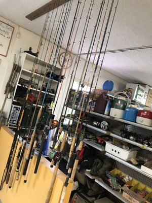 Misc. fishing rods and reels and lures etc. we're at 12325 SE Powell from 10-6 daily till there gone till the end of March. for Sale in Portland, OR