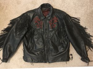Women's Black Leather Fringed Jacket & Chaps for Sale in Temple, GA