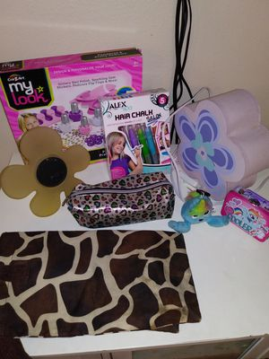 Girls dress and elena costume. Girls pedicure set and hair chalk. Flower lamp and other items for Sale in Cornelius, OR